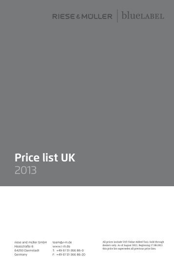 Price list UK 2013 - Riese und Müller