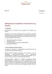 Redegørelse om inspektion i Alm Brand Liv og Pension
