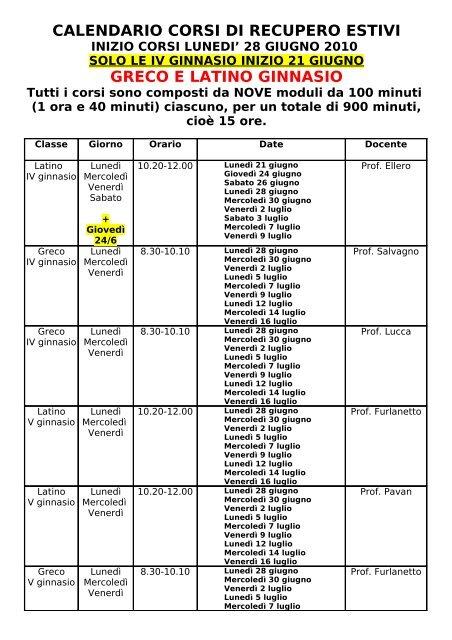 Calendario Greco.Calendario Corsi Di Recupero Estivi Greco E Latino Ginnasio