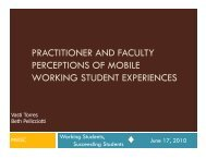 PRACTITIONER AND FACULTY PERCEPTIONS OF MOBILE WORKING STUDENT EXPERIENCES