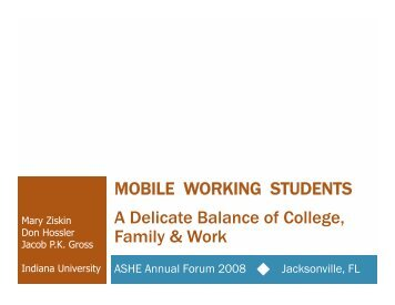 MOBILE WORKING STUDENTS A Delicate Balance of College Family & Work