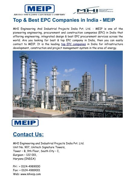 Top Best Epc Companies In India Meip