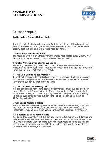 Reitbahnregeln - Pforzheimer Reiterverein e.V.