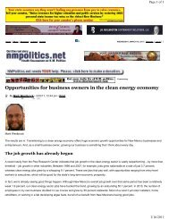 Westbrock Op-Ed March 2011 - New Mexico GREEN Chamber of ...