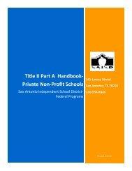 Title II Part A Handbook- Private Non-Profit Schools - San Antonio ...