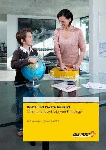 Briefe und Pakete Ausland - Sicher und ... - Die Schweizerische Post