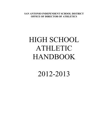 HIGH SCHOOL ATHLETIC HANDBOOK 2012-2013