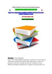 HSM 210 Week 5 Exercise Critical Thinking Exercises/snaptutorial