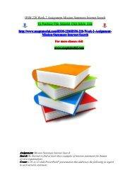 HSM 220 Week 2 Assignment Mission Statement Internet Search/snaptutorial