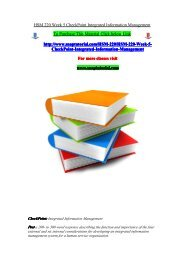 HSM 220 Week 5 CheckPoint Integrated Information Management/snaptutorial