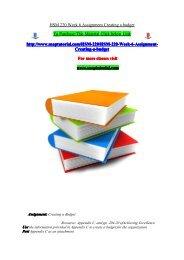 HSM 220 Week 6 Assignment Creating a budget/snaptutorial