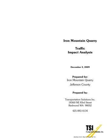 Iron Mountain Quarry Traffic Impact Analysis