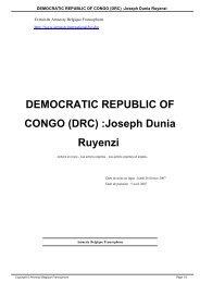 DEMOCRATIC REPUBLIC OF CONGO (DRC) :Joseph Dunia Ruyenzi