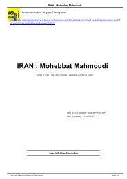 IRAN : Mohebbat Mahmoudi - AMNESTY INTERNATIONAL.be