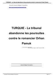 TURQUIE - Le tribunal abandonne les poursuites ... - amnesty.be