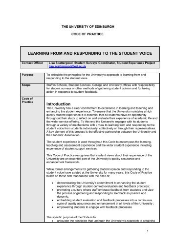 LEARNING FROM AND RESPONDING TO THE STUDENT VOICE Introduction