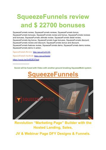 Squeeze Funnels Detail Review and Squeeze Funnels  $22,700 Bonus