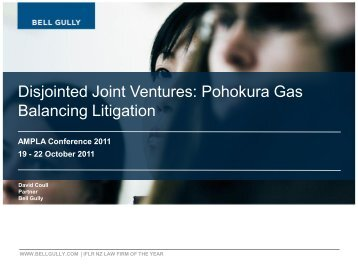 Disjointed Joint Ventures Pohokura Gas Balancing Litigation