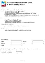 Anmeldung Direktreservationssystem Deskline für Hotels - Fiesch