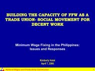BUILDING THE CAPACITY OF FFW AS A TRADE UNION- SOCIAL MOVEMENT FOR DECENT WORK