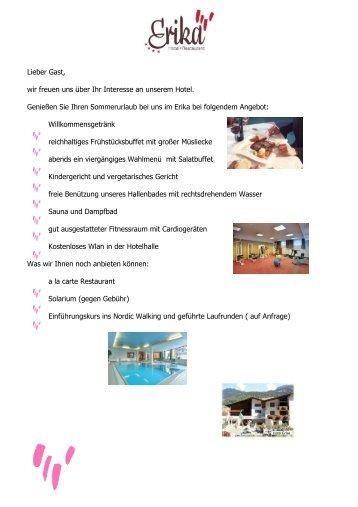 Preisliste im Sommer 2012 - Hotel Erika