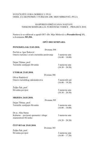 """sveučilište jurja dobrile u puli - Fakultet ekonomije i turizma """"Dr. Mijo ..."""