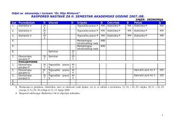 RASPORED NASTAVE ZA II SEMESTAR AKADEMSKE GODINE 2007./08