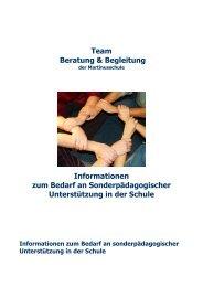 Informationen zum Bedarf an sonderpädagogischer Unterstützung in der Schule