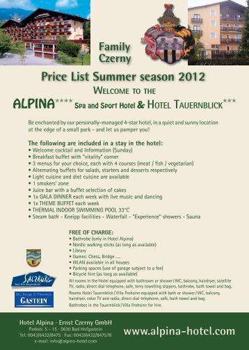 Price Spring · Summer · Autumn 2013 - Hotel Alpina in Bad Hofgastein