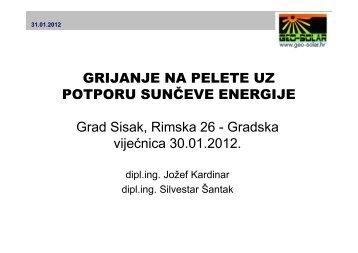 Grijanje na pelete uz potporu sunčeve energije - Grad Sisak