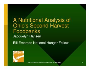 A Nutritional Analysis of Ohio's Second Harvest Foodbanks