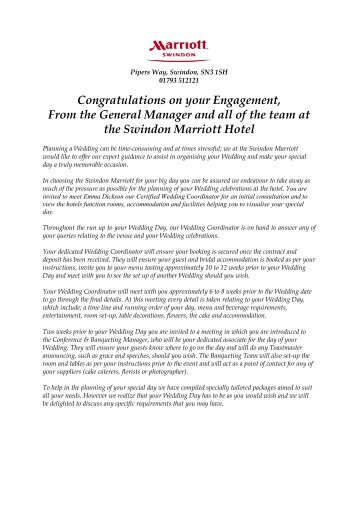 2012-2013 Wedding Packages at the Swindon Marriott Hotel