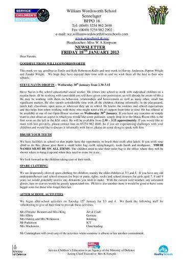 William Wordsworth School Sennelager BFPO 16 NEWSLETTER FRIDAY 18 JANUARY 2013