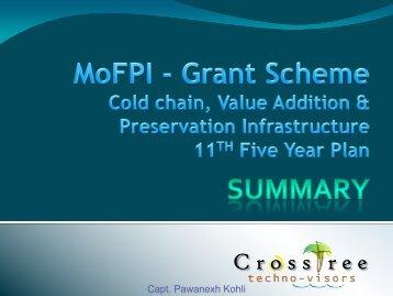 MoFPI Grant for cold-chain - CrossTree