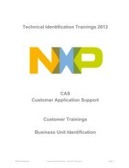 Technical Identification Trainings 2012 CAS ... - NXP Semiconductors