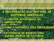 Programa da apresentação A RECUPERAÇÃO SUSTENTÁVEL DE SISTEMAS AGRÍCOLAS