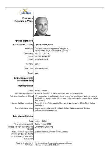 Download Lebenslauf - Öko-Institut eV