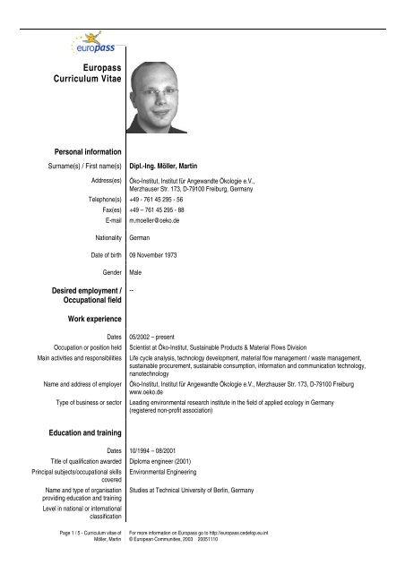 Download Lebenslauf Oko Institut Ev