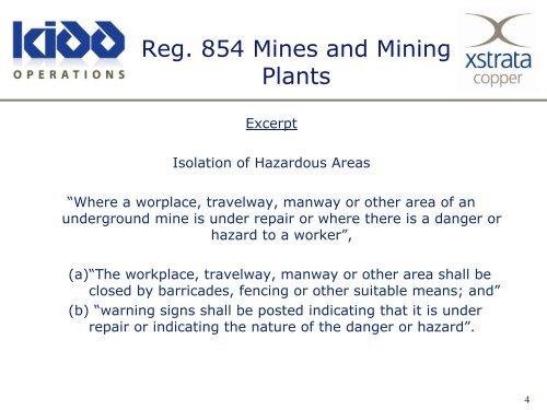 Kidd Mine Barricade Standards