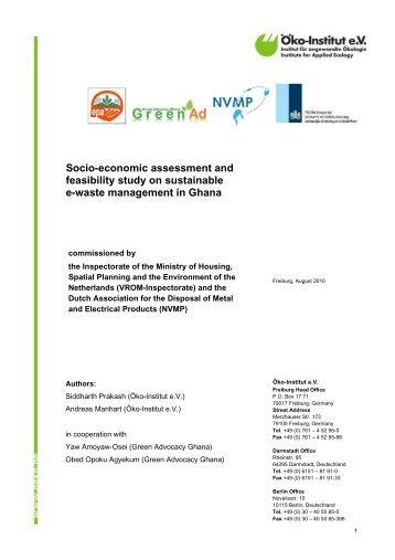 Socio-economic assessment and feasibility study on - Öko-Institut eV