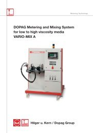 DOPAG Metering and Mixing System for low to high viscosity media VARIO-MIX A