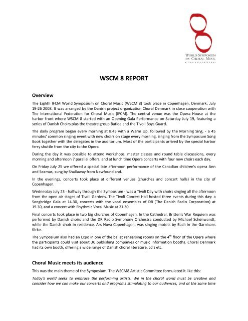 WSCM 8 REPORT - World Symposium on Choral Music