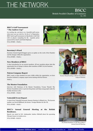 BSCC's latest newletter, The Network Summer Edition 2011