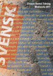 Svensk Rental Tidning Mediainfo 2011