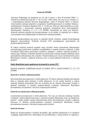 Kontrola ZPORR Instytucja Wdrażająca na podstawie art. 52, pkt 4 ...