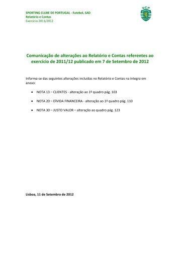 Comunicação de alterações ao Relatório e Contas referentes ao ...