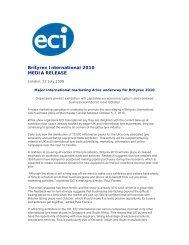Brityrex International 2010 MEDIA RELEASE