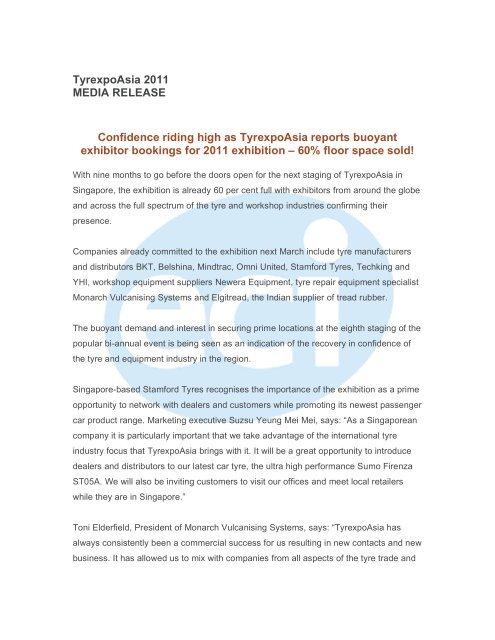 Tyrexpo Asia Media Release 4 - ECI International