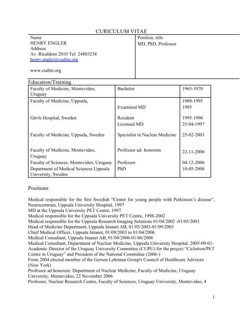 Curriculum Vitae Henry Engler 2011 11 24 Cudim