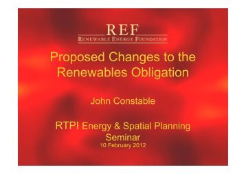 Proposed Changes to the Renewables Obligation